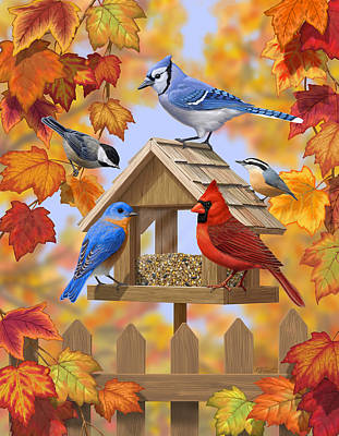 Picket Fence Digital Art - Bird Painting - Autumn Aquaintances by Crista Forest