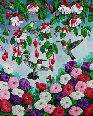 Purple Flowers Painting - Bird Painting - Hummingbird Heaven by Crista Forest