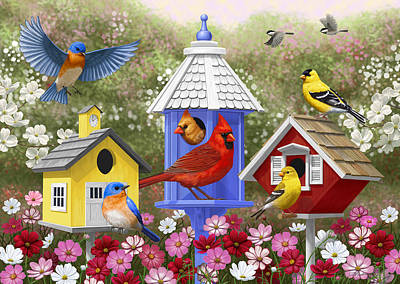 Schoolhouse Painting - Bird Painting - Primary Colors by Crista Forest