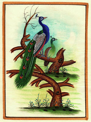 Antique Miniature Painting - Bird Painting Tree Forest Miniature Painting Artist Nature Paper, Gift Art, Watercolor Painting by M B Sharma
