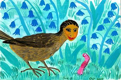 Sue Burgess Painting - Bird People Blackbird And Worm by Sushila Burgess