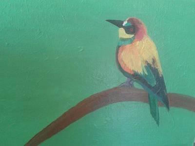 Bir Painting - Sparrow On Branch by Rekha Gajera