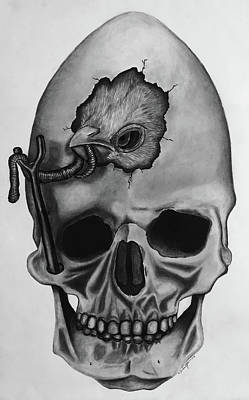 Drawing - Bird Skull, Tribute To Dali by Andy Jeter