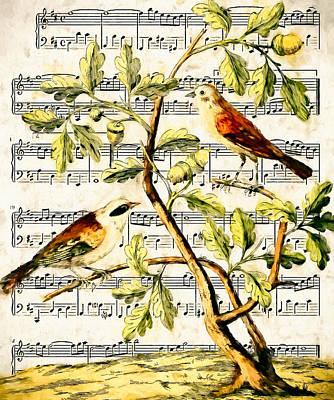 Acorn Digital Art - Bird Song by John K Woodruff