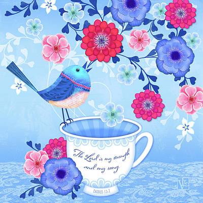 Cute Bird Digital Art - Bird Song by Valerie Drake Lesiak