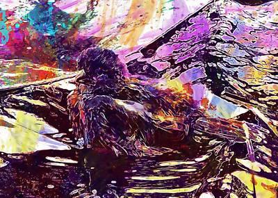 Digital Art - Bird Sparrow Bad Swim Sperling  by PixBreak Art