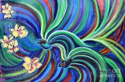 Bird Symphony With Frangipani Art Print