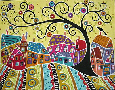 Bird Ten Houses And A Swirl Tree Print by Karla Gerard