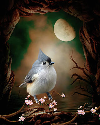 Titmouse Digital Art - Bird - Titmouse In The Moonlight by John Junek