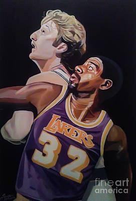 Magic Johnson Painting - Bird Vs Magic by Jason Majiq Holmes