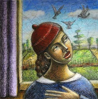 Drawing - Bird Watcher by June Walker