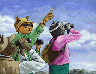 Painting - Bird Watchers - Fantasy Cat Oil Painting by Linda Apple