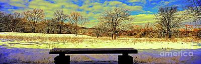 Bird Watchers Bench Winter Crabtree Nature Center Cook County Il Art Print