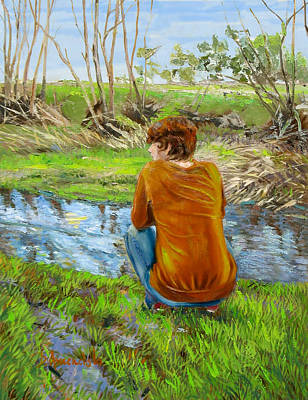Bird Watching By The Creek Art Print by Dominique Amendola
