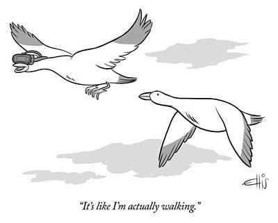 Sky Drawing - Bird Wearing Virtual Reality Goggles by Ellis Rosen