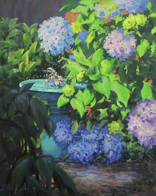 Painting - Birdbath And Blossoms by Karen Ilari