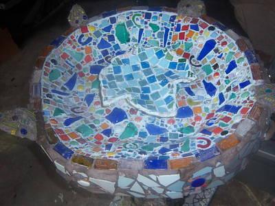 Hand Sculpted Tile Sculpture - Birdbath Bowl by Elizabeth Okon