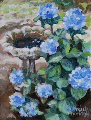 Painting - Birdbath Hydrangeas by Jan Bennicoff