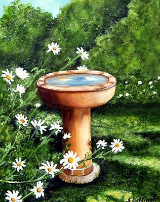 Painting - Birdbath In The Daisy Garden by Susan Dehlinger