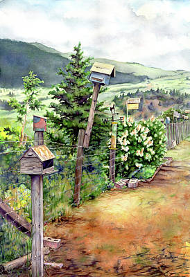 Painting - Birdhouse Alley by Leslie Redhead