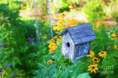 Photograph - Birdhouse And Flowers by David Arment