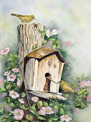 Warbler Painting - Birdhouse Buddies by Patricia Pushaw