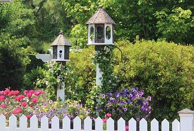 Photograph - Birdhouse Flower Garden by Cynthia Guinn