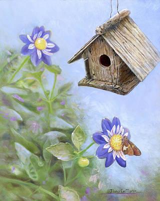 Birdhouse In A Country Garden Original by Nancy Lee Moran