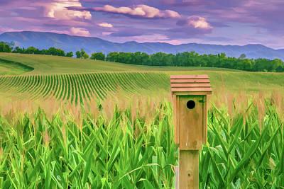 Cornfield Digital Art - Birdhouse In The Cornfield by Lisa Lemmons-Powers