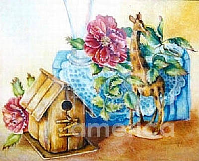Painting - Birdhouse Still Life by Linda Shackelford