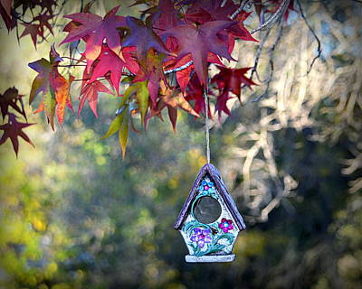 Art Print featuring the photograph Birdhouse Under The Autumn Leaves by AJ Schibig