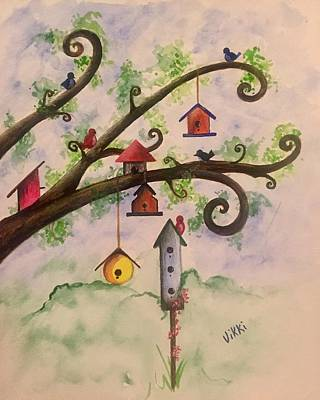 Painting - Birdhouses by Vikki Angel