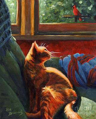 Painting - Birdie In The Window by Pat Burns