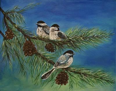 Pinetree Painting - Birdie Paradise by Leslie Allen
