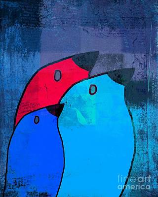 Rectangles Digital Art - Birdies - C2t1j126-v5c33 by Variance Collections
