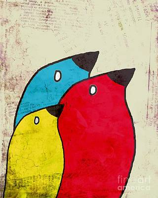 Primary Colors Digital Art - Birdies - V01s1t by Variance Collections
