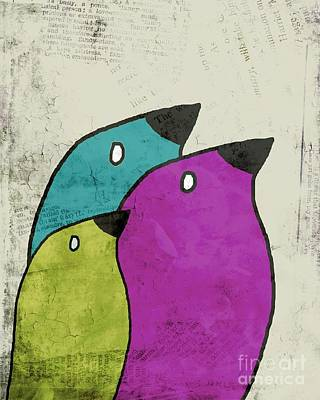 Lime Digital Art - Birdies - V06c by Variance Collections