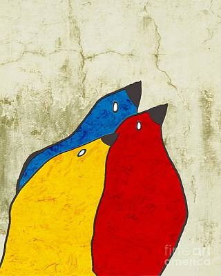 Primary Colors Digital Art - Birdies - V112t100b3 by Variance Collections