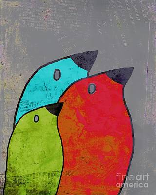 Lime Digital Art - Birdies - V11b by Variance Collections