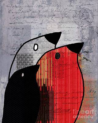 Digital Art - Birdies Red - J100129091 by Variance Collections