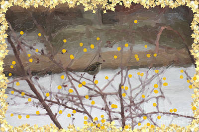 Digital Art - Birdio With Gold Fruit by Donna Munro