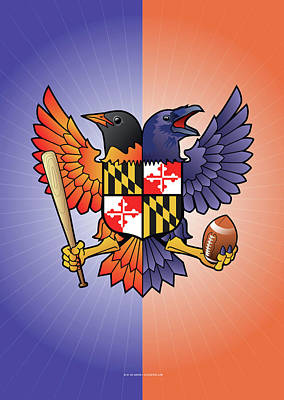 Oriole Digital Art - Birdland Baltimore Raven And Oriole Maryland Crest by Joe Barsin