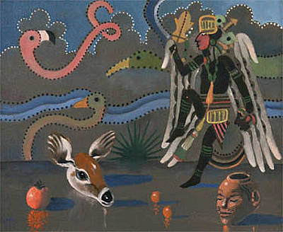 Painting - Birdman With Deer by Maury Hurt