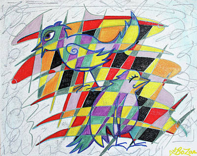Colorful Abstract Drawing - Birdopoly by Laura Barbosa