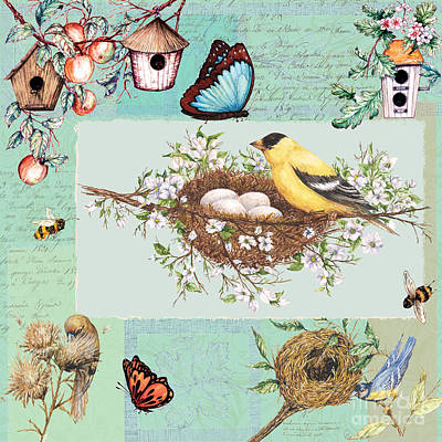 Painting - Birds And Bees by Sher Sester