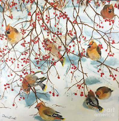 Cedar Waxing Painting - Birds And Berries by Diane Donati