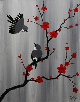 Cherry Blossoms Painting - Birds And Blooms In Red by Emily Page