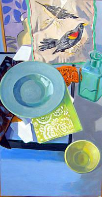 Birds And Bowls Art Print by Maralyn Adlin