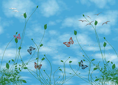 Birds And Butterflies  Art Print by Evelyn Patrick