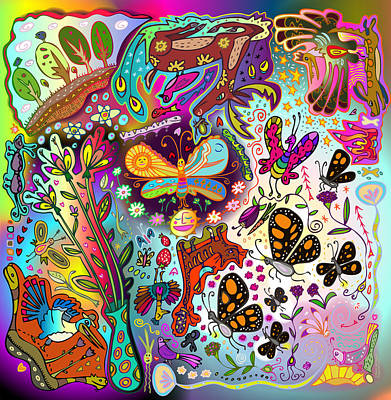 Digital Art - Birds And Butterflies by Marti McGinnis